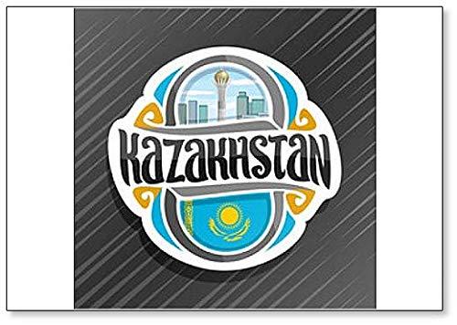 Kasachstan, Baiterek Tower in Astana mit Kasachische Flagge Klassischer Kühlschrankmagnet