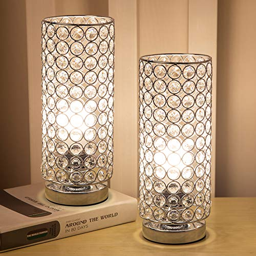 Focondot Crystal Table Lamp, Decorative Nightstand Room...