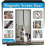 Magnetic Screen Door Cover IKSTAR Double Mesh Curtain with Full Frame Hook&Loop Instant Mesh Door for Front Door and Home Outside Kids/Pets Walk Through Easily Bug Net Size 39'x99'