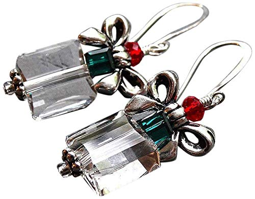 Crystal Christmas Present Silvertone Dangle Earrings Holiday Jewelry Gift for Women