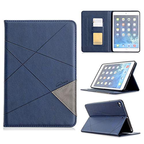 YANCAI Case Cover Vertical Prismatic Tablet Case Suitable for IPAD MINI 12345 Universal Case. Advanced PU Leather Case With Automatic Wake-up/sleep Function [with Card Slot] (Color : Blue)