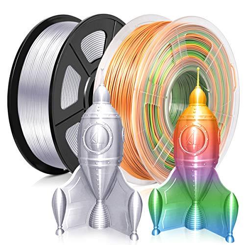 PLA 3D Printer Filament 1.75MM PLA Silk Filament 2KG for 3D Printer 3D Pen PLA Shiny Silky Sliver+Rainbow