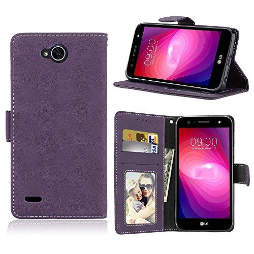 Capa para LG X power 2 / K10 Power proteção de couro PU com 3 compartimentos para cartões capa flip (Roxo)