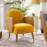 Art Leon Mid Century Modern Retro Yellow Velvet Upholstered Oak Woven Arm Accent Chair with Oak Wood Legs Living Room Chair