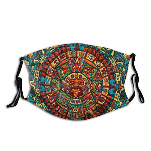 Mei-ltd Colorful Mayan Calendar Face Ma_sk Washable Reusable Adult Face Cover with Adjustable Nose Wire and Ear Loops