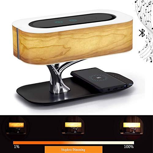 Ledph Nachttischlampe Mit Wireless Charger Und Bluetooth-Lautsprecher, Touch Dimmbar(Farbtemperatur Und Helligkeit),Nachttischleuchte Mit Schlafmodus, LED Designer Tischlampe, Deko Schlafzimmer