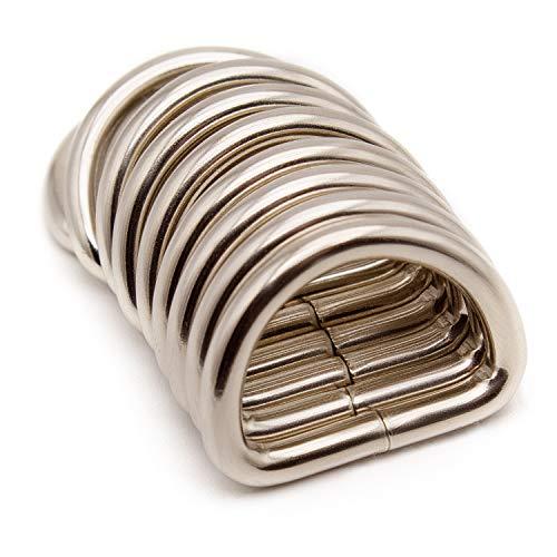 Akord D-ringen voor luiertas of handtas grepen, zilverkleurig, 30 mm, 10 stuks