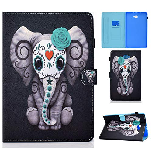 Case for Samsung Galaxy Tab A 10.1 2016 Case SM-T580/ T585 Slim Flip Wallet Stand Cover Protective Shell with Pen Holder Pocket Magnetic Clasp for Galaxy Tab A 10.1 inch 2016 Tablet - Rose Elephant