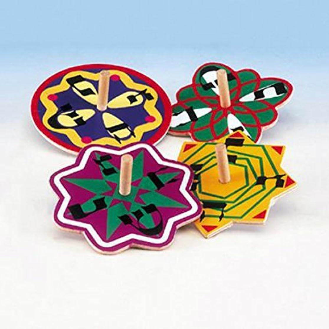 Hanukkah Veriety Pack Spinning Colorful Painted Wood Dreidel Set 4 Pack wjbptwyq1