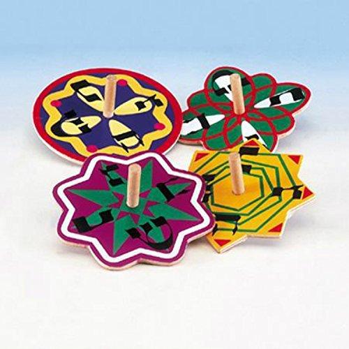 Hanukkah Veriety Pack Spinning Colorful Painted Wood Dreidel Set 4 Pack