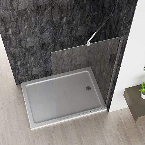 Walk in Dusche Duschwand Duschtrennwand Duschabtrennung 80 x 185 cm ESG NANO 6mm klares Glas