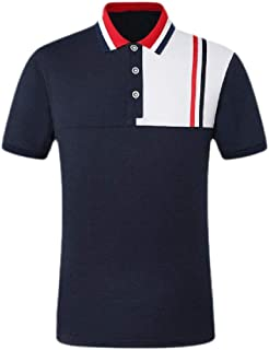 neveraway Men Fit Relaxed-Fit Contrast Short-Sleeve Summer Polo Shirts