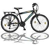 24 Zoll Jungen Fahrrad 21-Gang Shimano MIT Beleuchtung Farbe SCHWARZ TMX