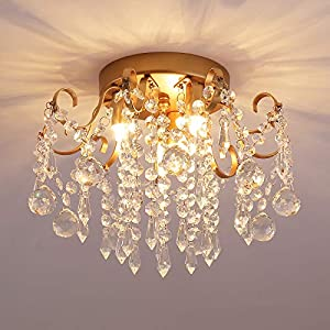 Q&S Small Chandelier, Modern Gold Mini Crystal Chandelier Ceiling Light Fixture for Bedroom,Hallway, Entryway ,G9 3-Light.