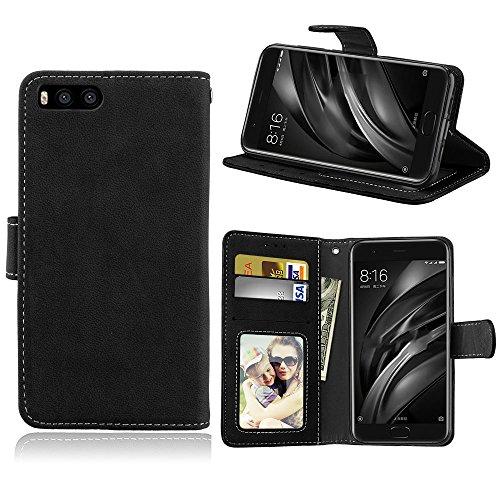 Funda Xiaomi 6 Xiao Mi 6 MI6 M6,Bookstyle 3 Card Slot PU Cuero Cartera para TPU Silicone Case Cover(Negro)