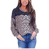 Damen Oberteile Langarm Pullover Leopard Langarmshirt Freizeit Sport Shirt Atmungsaktiv Patchwork...