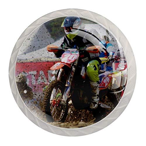 Xingruyun Pomos para Muebles Rally de Motos Pomos y Tiradores Manijas de Las Puertas Perillas de gabinete Cajón del Armario Cocina 4pcs para Alacena Baño Cocina Gabinetes 3.5×2.8CM