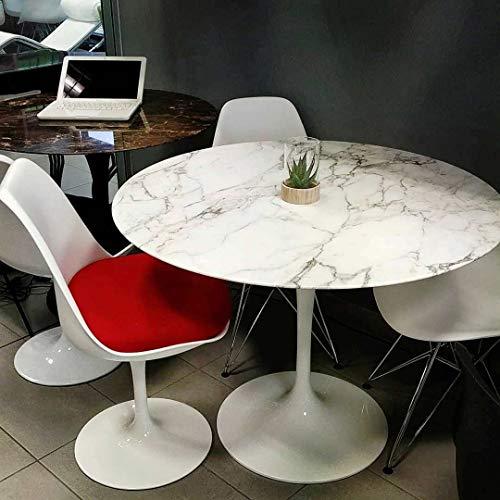 Table Tulip Ronde cm 90 marbre arabescato vagli Base Blanche