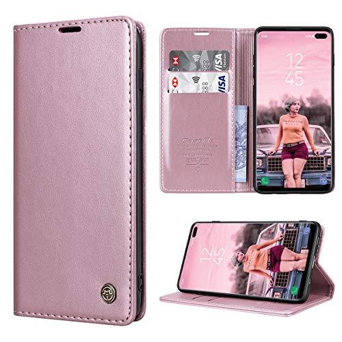 RuiPower Kompatibel für Samsung Galaxy S10 Plus Hülle Premium Leder PU Handyhülle Flip Hülle Wallet Lederhülle Klapphülle Klappbar Silikon Bumper Schutzhülle für Samsung S10 Plus Tasche - Rose Gold