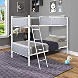 Olela Upholstered Bunk Bed,Metal Twin Over Twin Bunk Bed with Safety Guardrail Ladders Button Tufted Headboard ,Heavy Duty Steel Frame for Boys Girls Teens Bedroom Dorm (Grey Fabric)