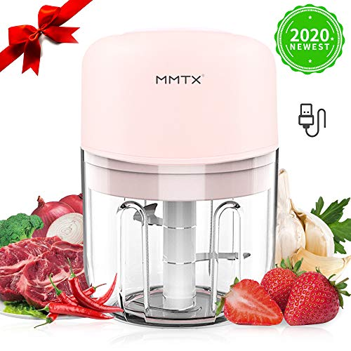 AYUQI Mini Food Chopper Electric - 250ML Kitchen Food Processor and Blender, USB Charging Portable Vegetable Fruit Meat Garlic Onion Ginger Chopper with 3 Sharp Blades Grinder for Baby Food Salad
