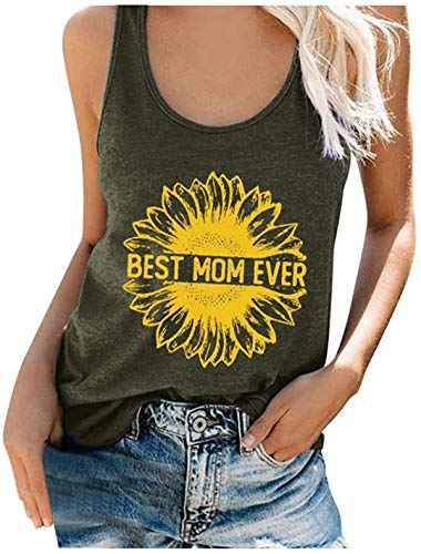 Women Fashion Sunflower Print Sleeveless Tank Tops Casual Loose Tank Top Summer Soft O-Neck Camis Vest