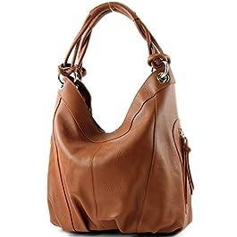 modamoda de – dames italiennes en cuir/cuir Nappa sac à main Z18, Couleur:cuir Cognac