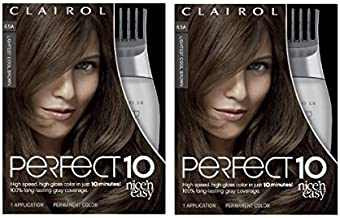 Clairol Nice'n Easy Perfect 10 Permanent Hair Color, 6.5a Lightest Cool Brown, Pack of 2