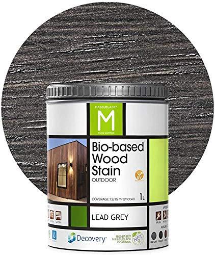 Barniz Madera Exterior   Bio-based Wood Stain   1 L   Barniz ecológico todo tipo de madera   Lasur madera exterior   color Lead Grey   Flexible y transpirable, resistente al agua y al moho