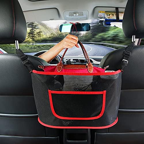 Car Net Pocket Handbag Holder, Car Purse Holder Between Seats, Mesh Car Backseat Organizer, Mesh Car Bag Holder, Car Storage Netting Pouch, Used to Store Purse Phone Document