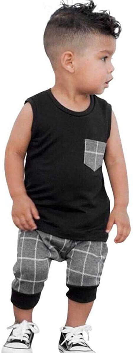 4th of July Baby Boys Summer Outfits Sleeveless T-Shirt Top American Flag Short Pants Independence Day Sets
