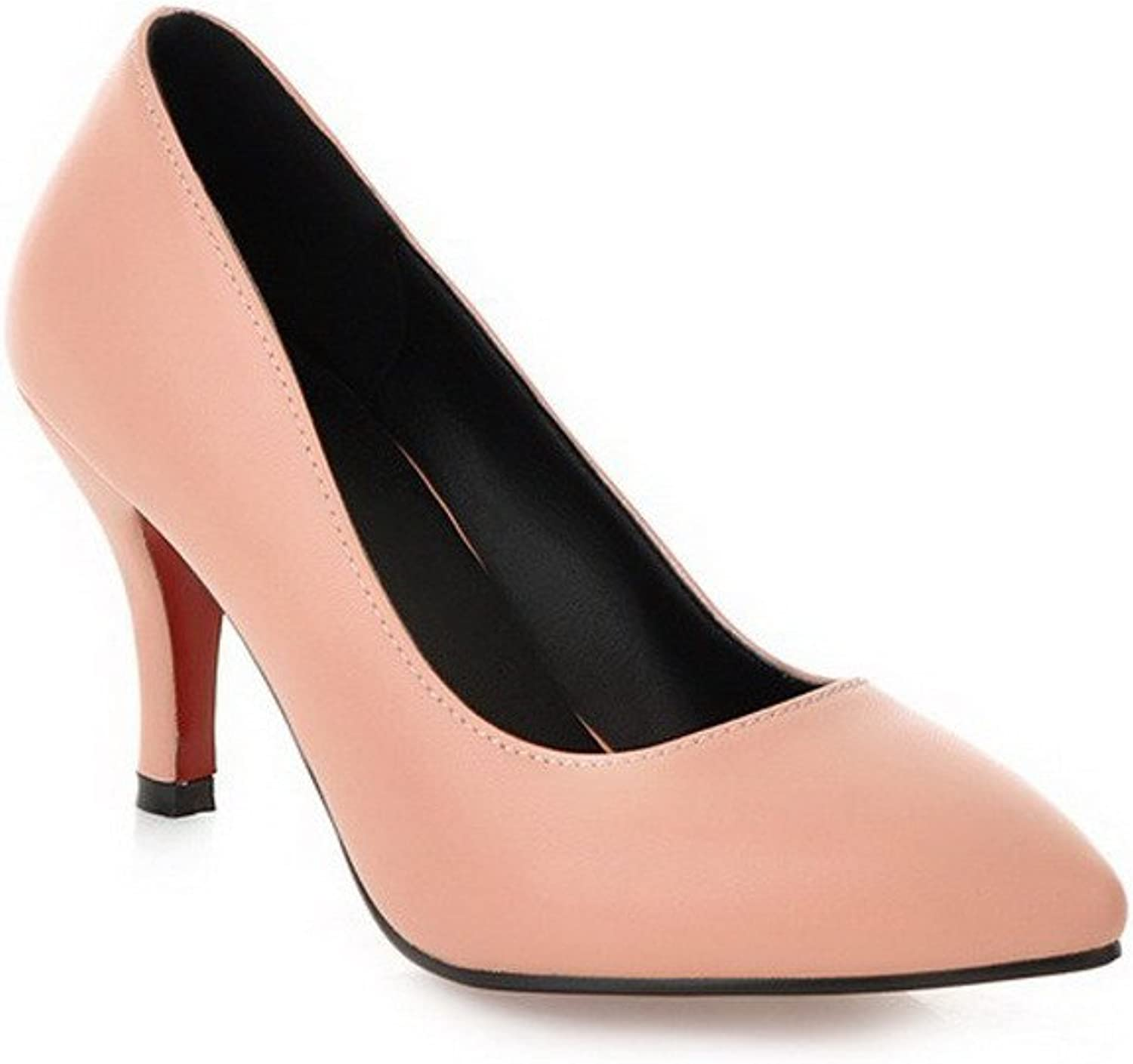 WeiPoot Women's Solid Pointed Closed Toe Soft Material PU Pumps-shoes, Pink, 38