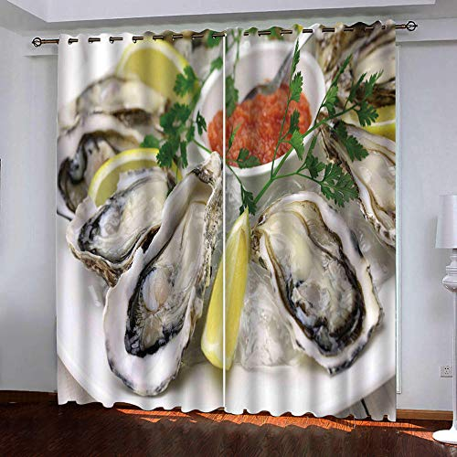 WAFJJ Blackout Curtains for BedroomFood & Oysters Thermal Insulated Panels Set of 2, Soft to Touch, Dust and Wrinkle Resistant size:2X W66 inchx L72 inch