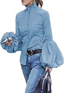 Macondoo Women's Juniors Lantern Sleeve Button Down Top Blouse Shirts