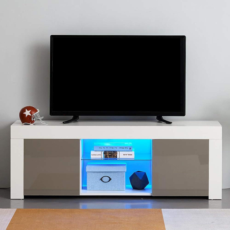 Dakea TV Board Lowboard Fernsehschrank wei Matte+Hochglanz 125 x 35 x 40cm inkl. Mehrfarbiges LED