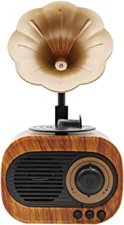SODIAL Retro Trumpet Style Bluetooth Speaker Wireless Stereo Subwoofer Music Box Wooden Speakers with Mic Fm Radio Tf for Phone Home,Office,Travel