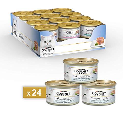 PURINA GOURMET DIAMANT Umido Gatto Tenere Sfoglie di Tonno al Naturale in Salsa- 24 lattine da 85g ciascuna (confezione da 24x85g)