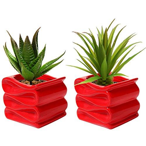 MyGift Set of 2 Modern Decorative Folded Design Small Ceramic Plant Pot / Flower Planter - Red