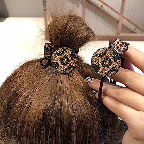 Vrouwen Haarband Luipaard Print Faux Parel Decor Elastische Haar Gesp Headdress Rubber Band Leopard Disc