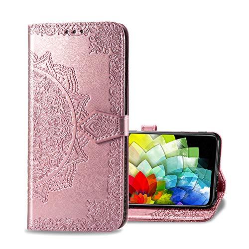 Compatible para Asus Zenfone 8 Fundas Wallet Case, Diseño Retro del Modelo de Case, Ranuras para Tarjetas, Magnético Flip Wallet Case Cover Adecuado Funda para Asus Zenfone 8 - Rosa caliente