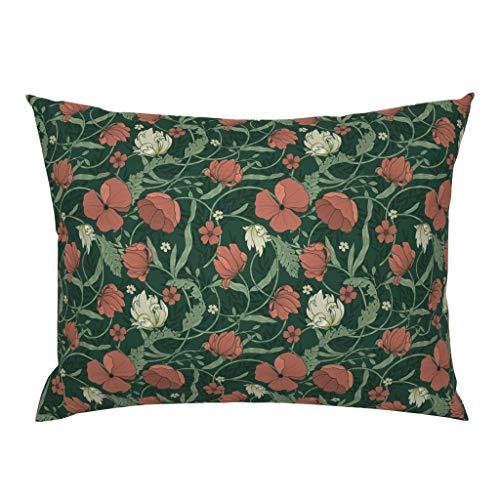 Meg121ace Floral Pillow Sham - Red Poppies Morris Garden Home Decor julia_dreams - Flower Garden Botanical Cotton Sateen Pillow Sham Bedding Gift