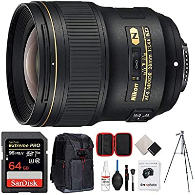 "Nikon AF-S NIKKOR 28mm f/1.4E ED FX Full Frame Lens (20069) with 64GB Accessories Bundle Includes, 64GB Memory Card, Photo Camera Sling Backpack, Vanguard 60"" Video Tripod and All-in-One Cleaning Kit from Nikon"