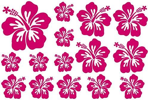 Samunshi® Hibiskus Aufkleber Creativ-Set Hibiskusblüten in 5 Größen und 25 Farben (30x20cm pink)
