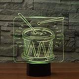 Luz Nocturna 3Ddrum Set Usb Touch Regalo De Cumpleaños Para Niños