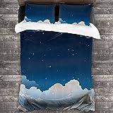 3 Piezas Juego Funda De Diseño Personalizado,Surreal Moon Night Sky con estrellas y nubes de sueño Magic Space Nursery Theme,Ropa de Cama Set 1 Edredón 2 Fundas de Almohada Microfibra jueg(220*230cm)