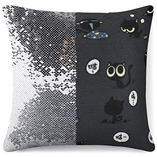 Magic Throw Pillow Cover Flip Sequin Cushion Cases Black Cute Cats Sofa Bed Office Decor Gag Gifts Personalized Pillowcases (16 in x 16 in) 40 cm x 40 cm