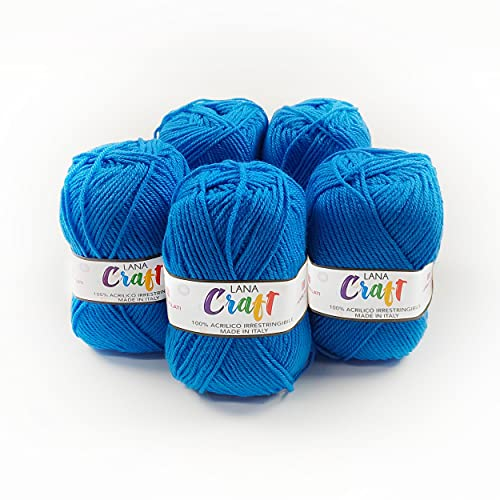 Panini Tessuti, 5 Gomitoli di Lana Craft - Made in Italy - Disponibile più colori per lavori ai ferri n 3.5 e 4-50g 133 m - Fai da te, Filati, Lana