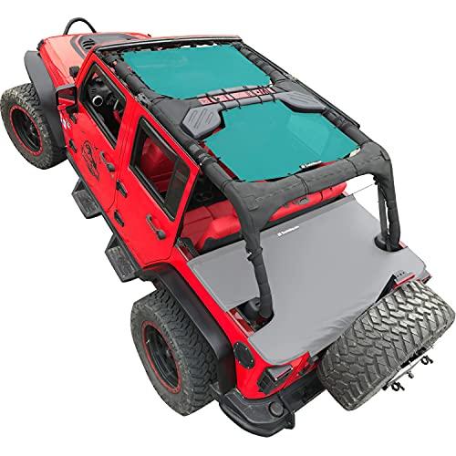 Shadeidea Sun Shade for Jeep Wrangler JK Unlimited (2007-2018) 4-Door Front & Rear-Tiff Blue Mesh Screen Sunshade JKU 4D Top Cover UV Blocker with Grab Bag-10 Years Warranty