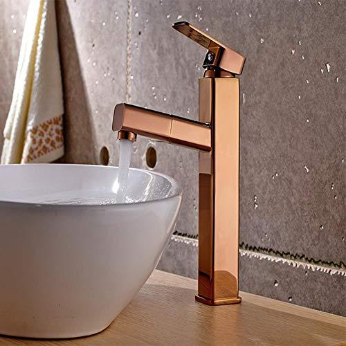 De lujo de oro rosa de baño del grifo del lavabo Grifo monomando cubierta montada caliente y frío grifo del lavabo grifo de latón, 27 cm