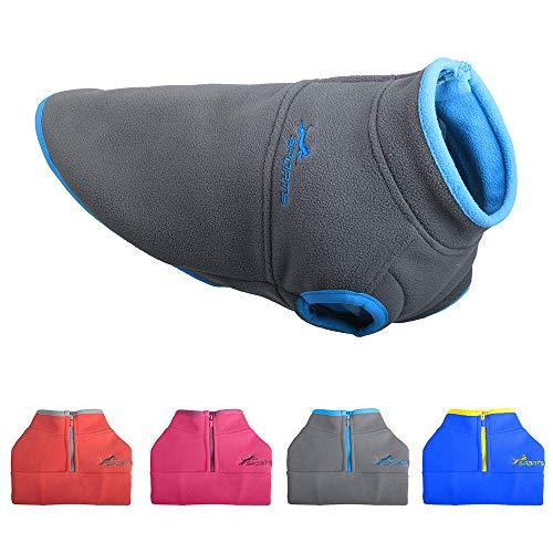 Leepets Hundeweste für kalte Wetter; Fleece-Weste für kleine Hunde mit halbem Reißverschluss, XL:Chest~21